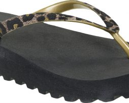 Tacona baja negra animal print oro - Confortable SRL